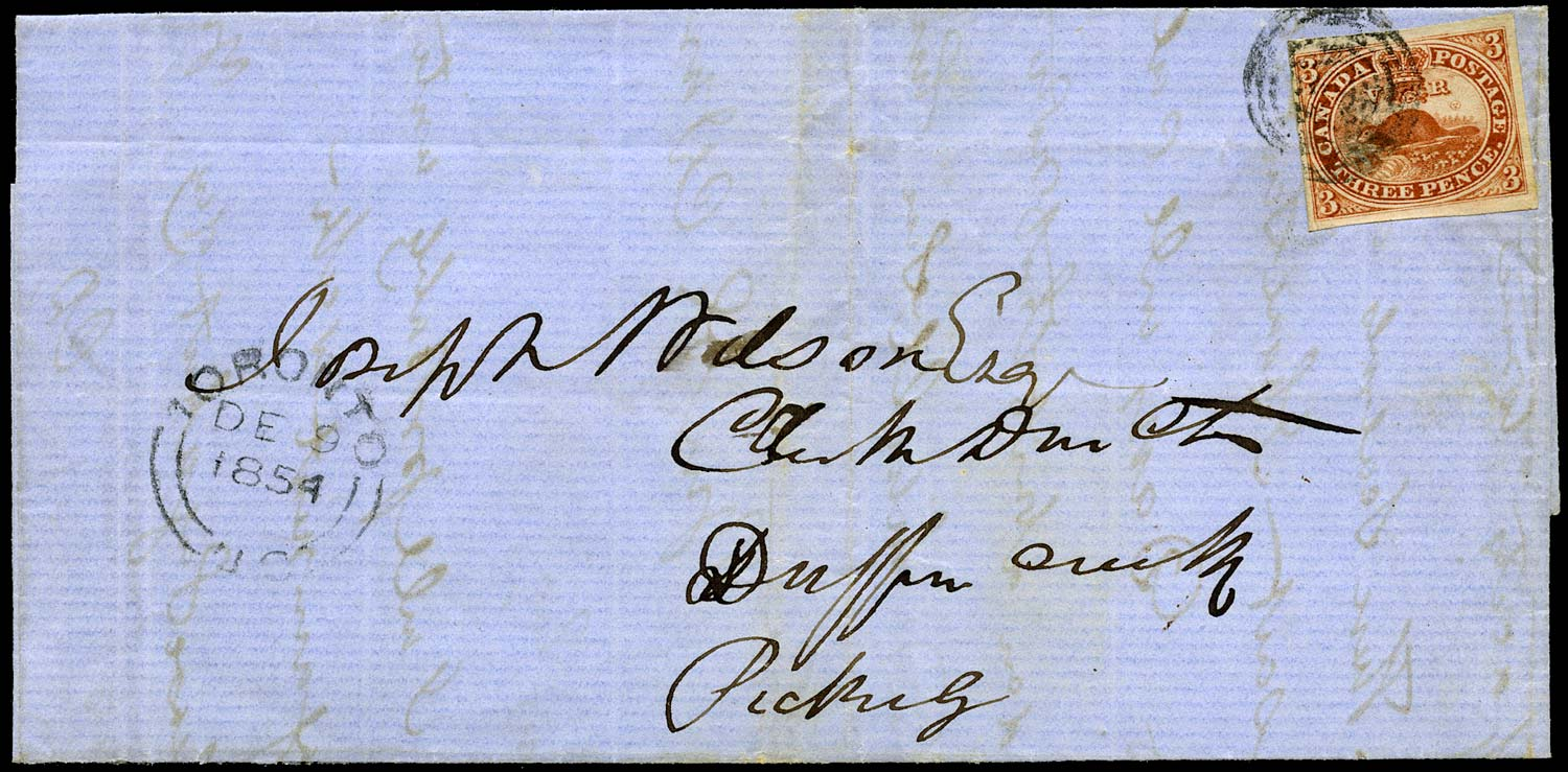 CANADA 1854  SG8 Cover from Toronto to Pickering with 3d Beaver