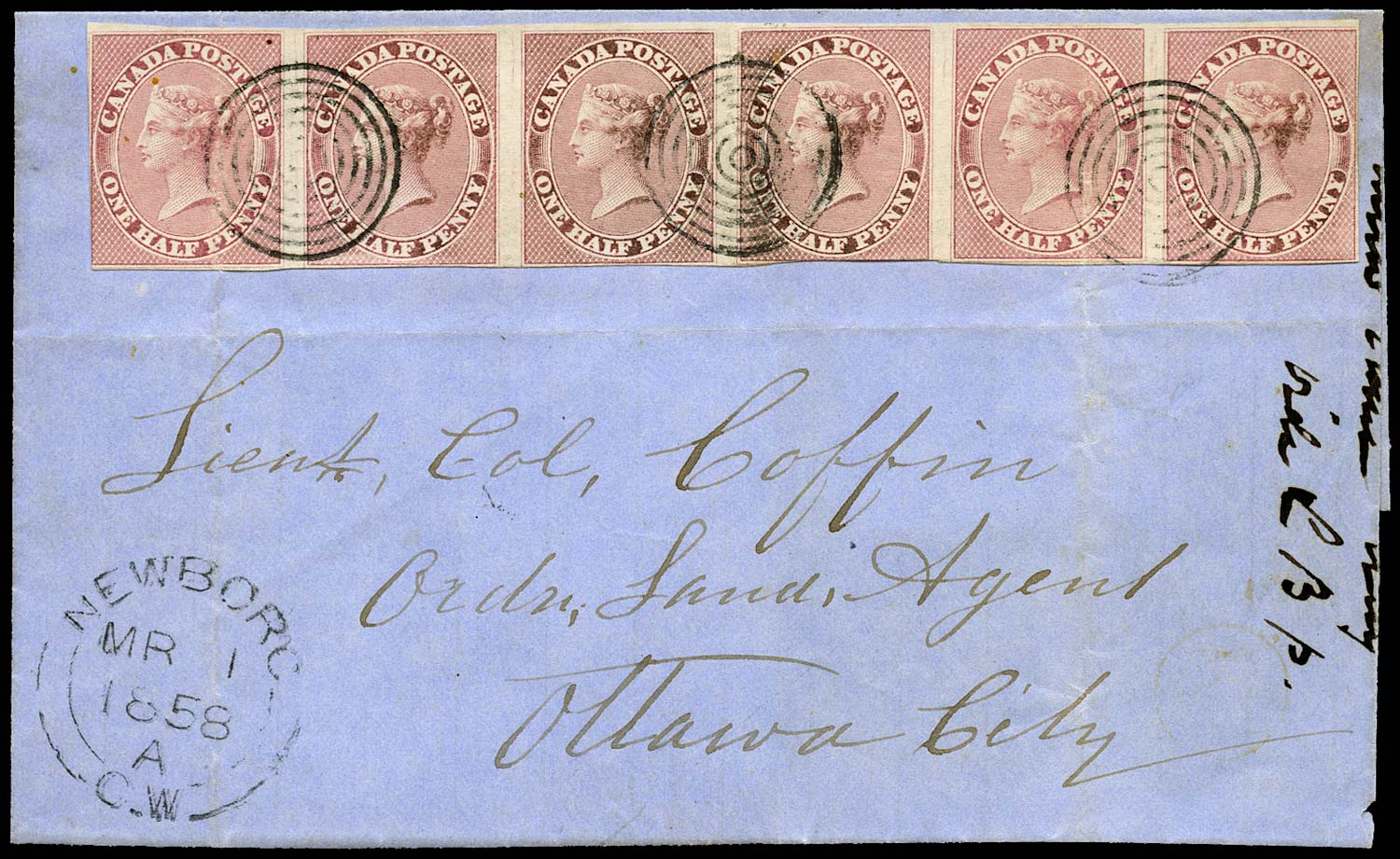 CANADA 1858  SG17 Cover from Newboro with ½d deep rose horizontal strip 6