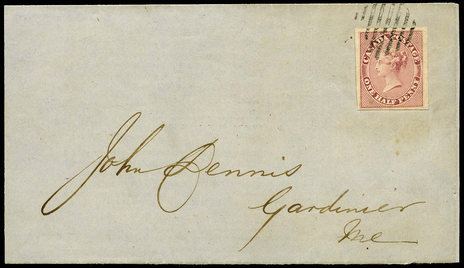 CANADA 1858  SG17 Cover from Toronto to Gardiner with ½d deep rose