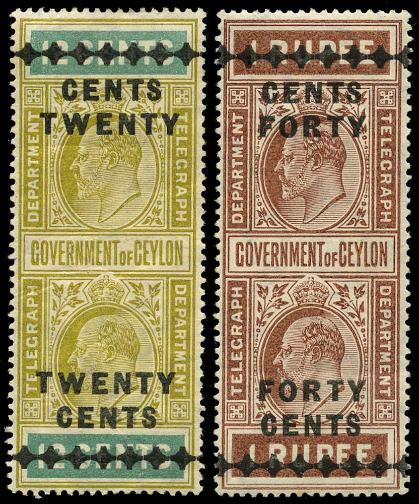 CEYLON 1910  SGT180, 183 Telegraph