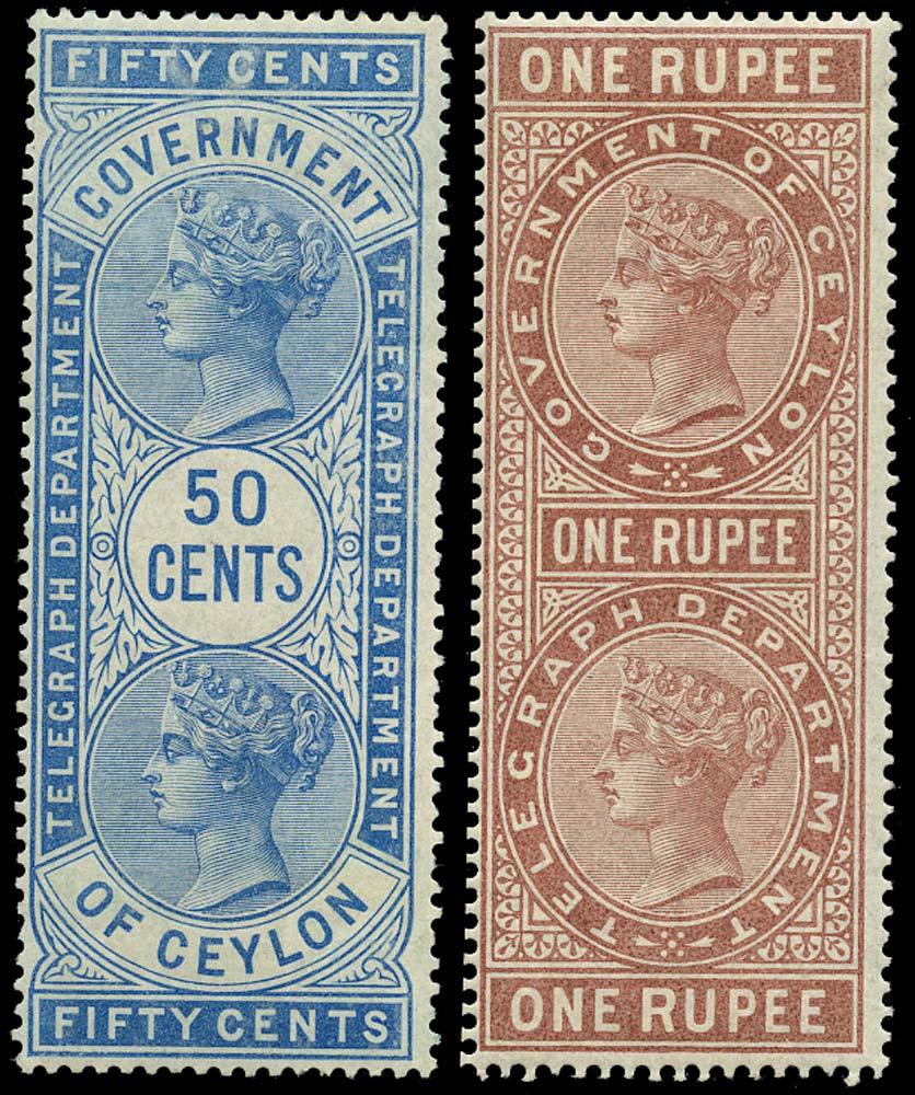 CEYLON 1881  SGT13, 15 Telegraph