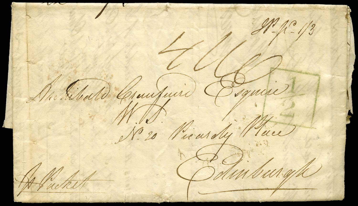 GB 1823 Pre-Stamp - Falmouth '½' toll tax handstamp