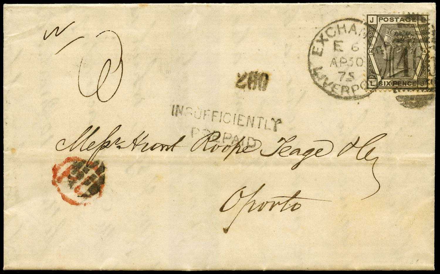 GB 1875  SG146 Pl.14 Cover - Insufficiently pre-paid to Oporto