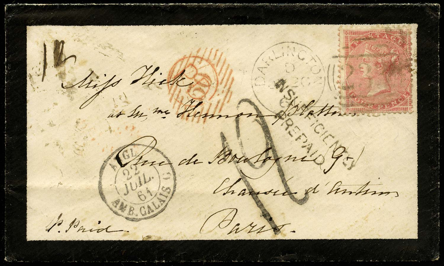 GB 1861  SG66a Cover - Insufficiently pre-paid to Paris