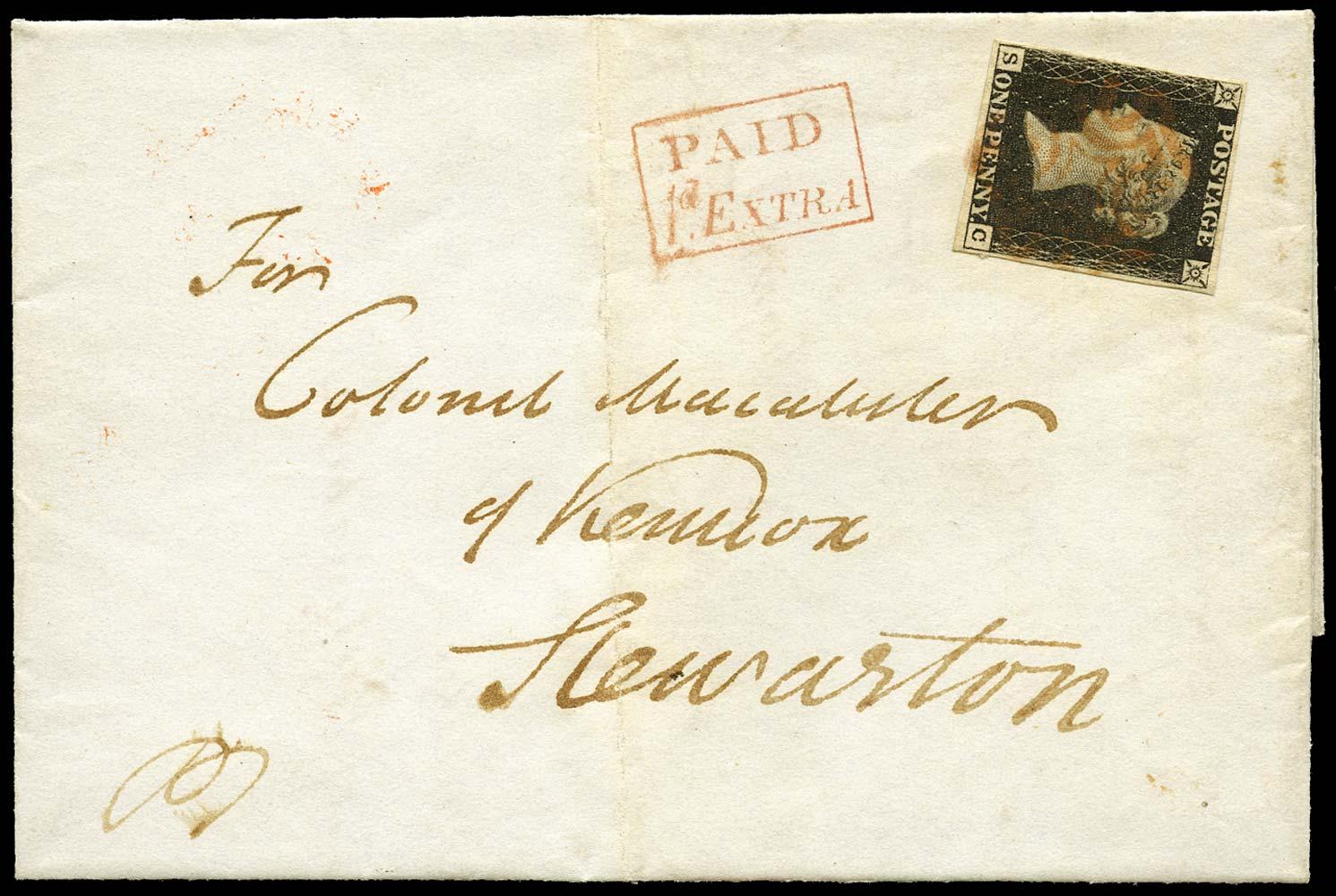 GB 1840  SG2 Pl.7 Penny Black - Late fee cover to Stewarton