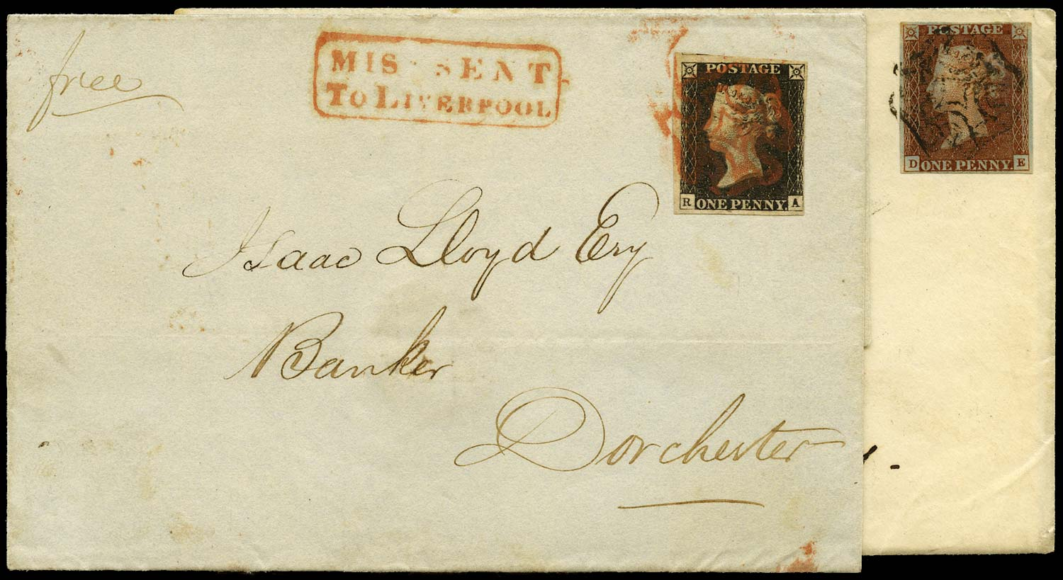 GB 1840-41  SG2,8 Pl.3 and 13 Penny Black - 'Missent to Liverpool'