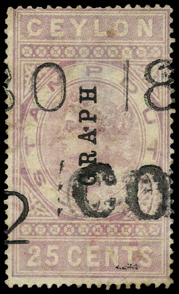 CEYLON 1882  SGT22 Telegraph