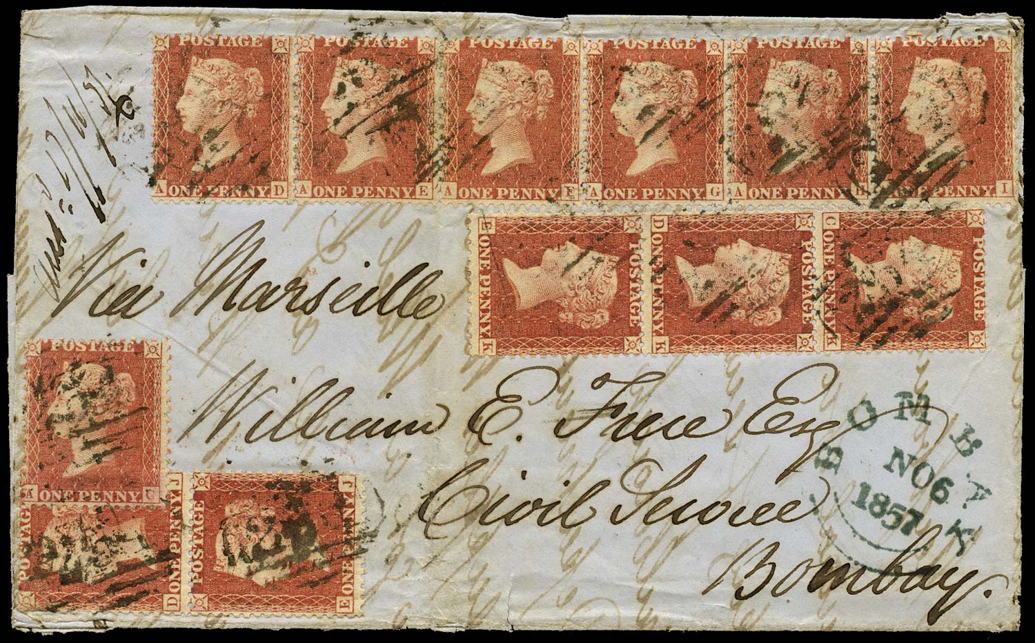 GB 1857  SG40 Pl.43 Cover - 1/- rate cover to Bombay