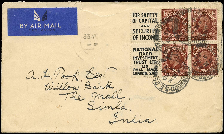 GB 1935  SG441e var Booklet pane Intermediate format pane on cover to Simla