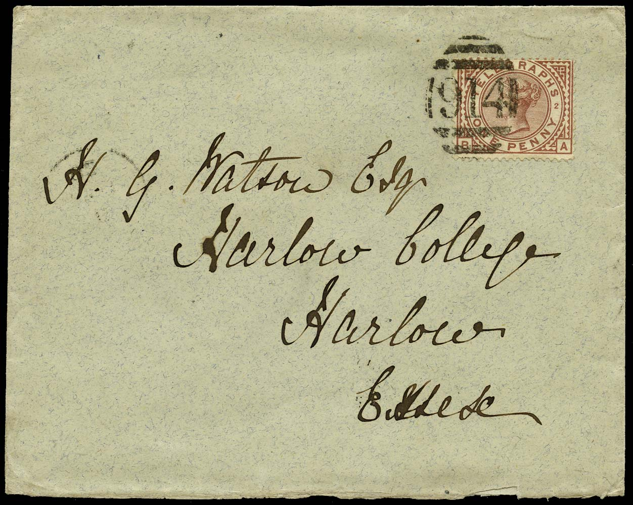GB 1882  SGT2 Pl.2 Telegraph 1d red-brown accepted for postage