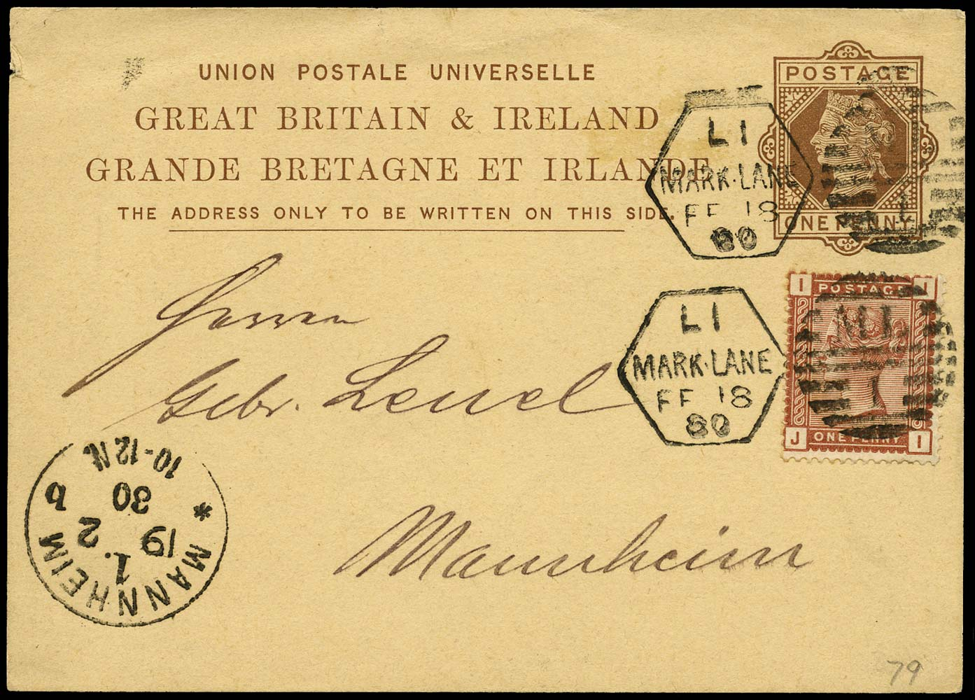 GB 1880  SG166 Cover - 1d 'Late Fee'