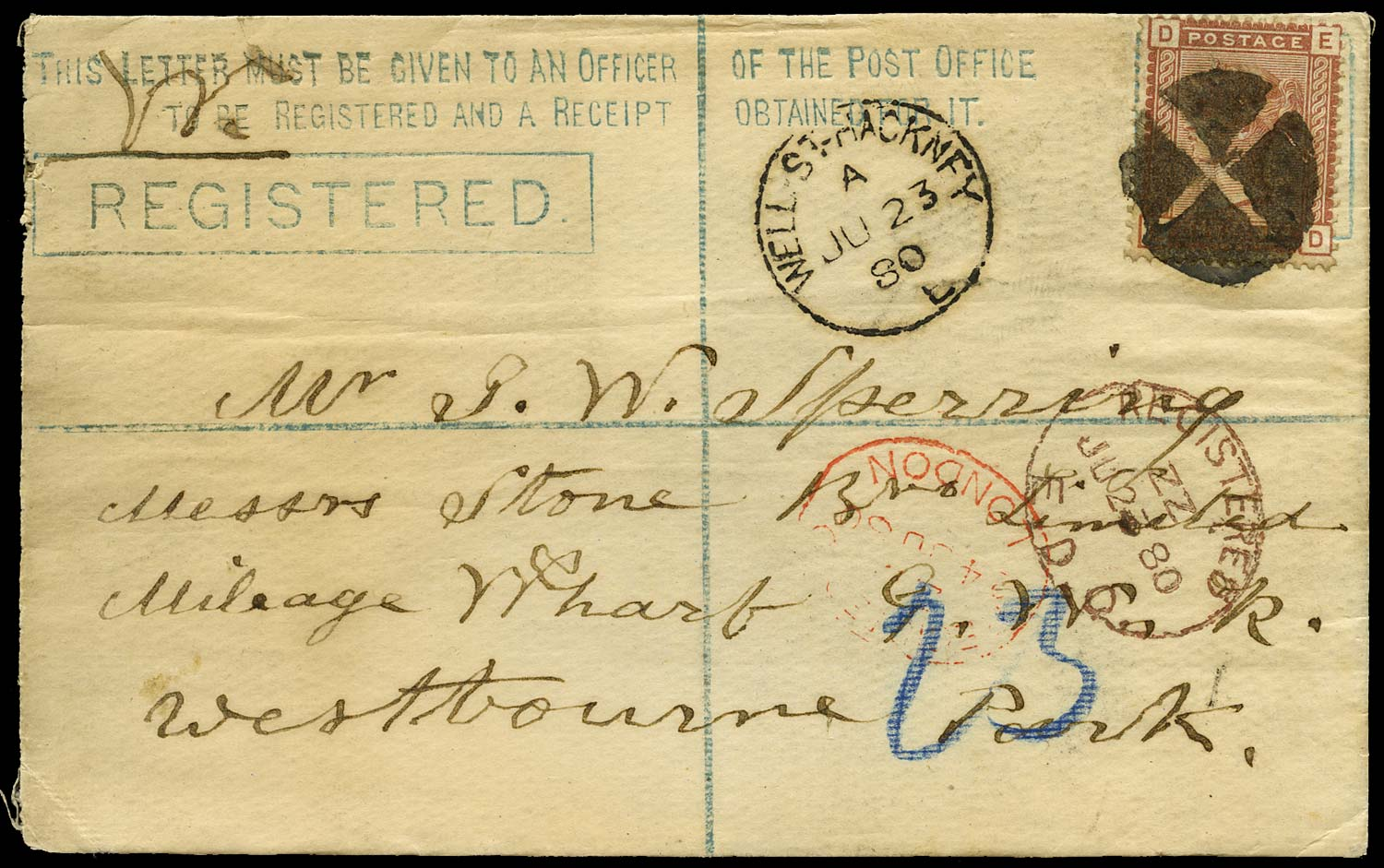 GB 1880  SG166 Cover - Inspectors mark used as a cancellation