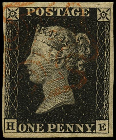 GB 1840  SG3 Pl.1b Penny Black VFU red MC (HE)