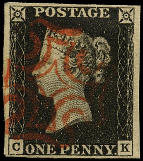 GB 1840  SG2 Pl.1b Penny Black VFU red MC (CK)