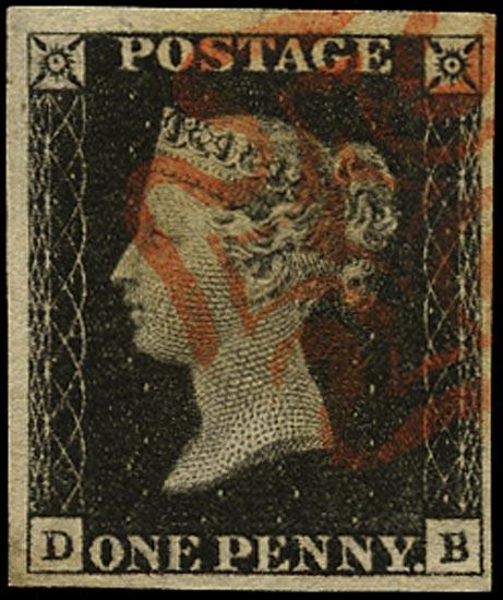GB 1840  SG2 Pl.1b Penny Black VFU red MC (DB)