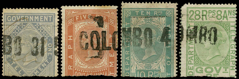 CEYLON 1869  SGZT5, 8/9, 14 Telegraph