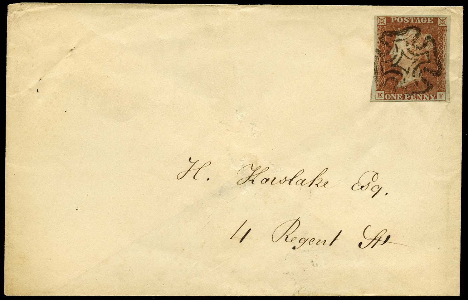 GB 1840  SG7 Pl.1b Cover envelope within London