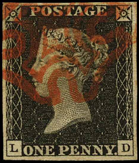 GB 1840  SG2 Pl.2 Penny Black VFU red MC (LD)