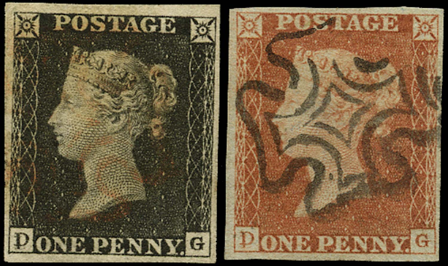 GB 1840  SG2/7 Pl.2 Penny Black Matched pair (DG)