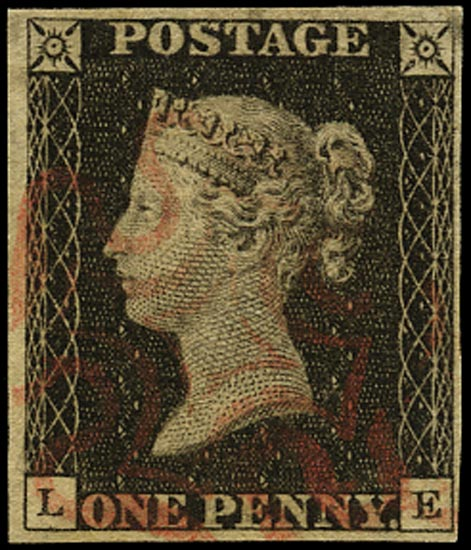 GB 1840  SG2var Pl.2 Penny Black lettered LE showing constant variety