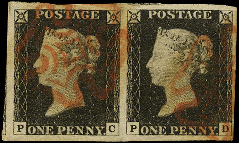 GB 1840  SG2 Pl.2 Penny Black Horizontal pair PC-PD