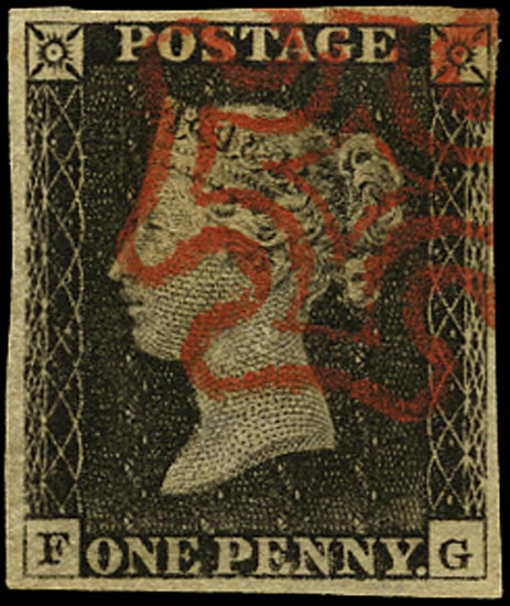 GB 1840  SG3 Pl.3 Penny Black red MC (FG)