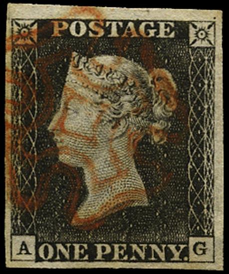 GB 1840  SG3 Pl.3 Penny Black red MC (AG)