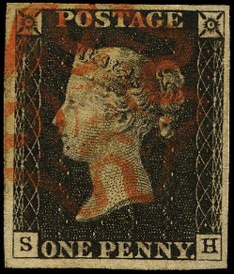GB 1840  SG2 Pl.3 Penny Black red MC (SH)