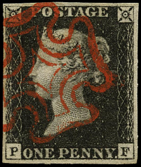 GB 1840  SG2 Pl.4 Penny Black red MC (PF)
