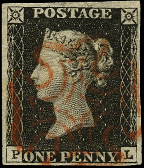GB 1840  SG2 Pl.4 Penny Black red MC (PL)