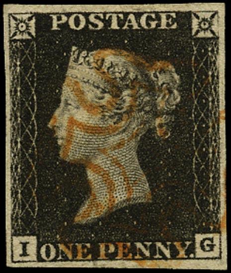 GB 1840  SG2 Pl.4 Penny Black red MC (IG)