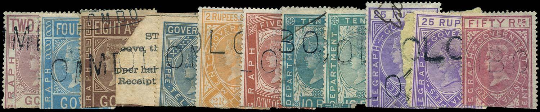 CEYLON 1869  SGZT1/3, 5/6, 8/10, 12/13, 15 Telegraph