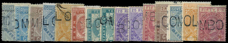 CEYLON 1869  SGZT2/3, 5/6, 8/10, 12/13, 15 Telegraph