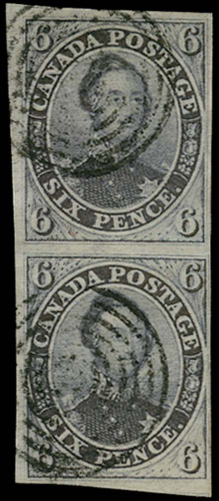 CANADA 1851  SG2 Used 6d slate-violet Prince Albert pair on laid paper
