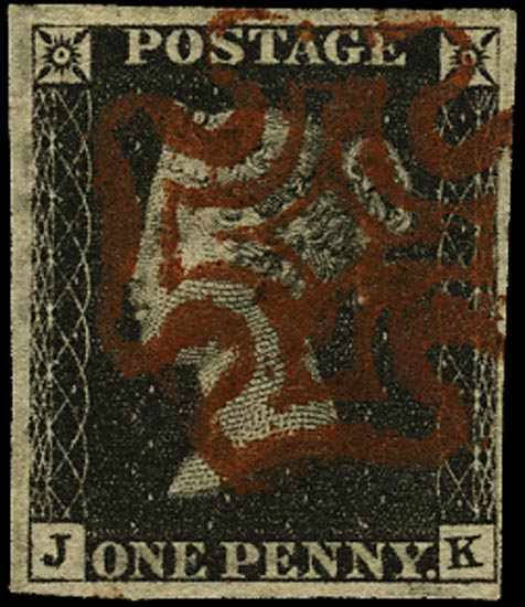 GB 1840  SG2 Pl.4 Penny Black deep reddish brown MC (JK)