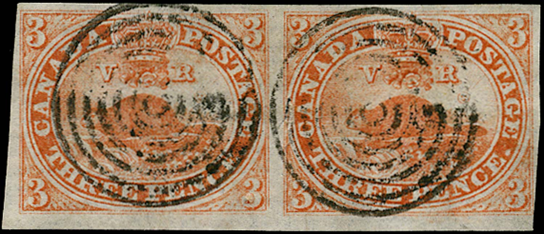 CANADA 1851  SG1a Used 3d orange-vermilion Beaver pair on laid paper