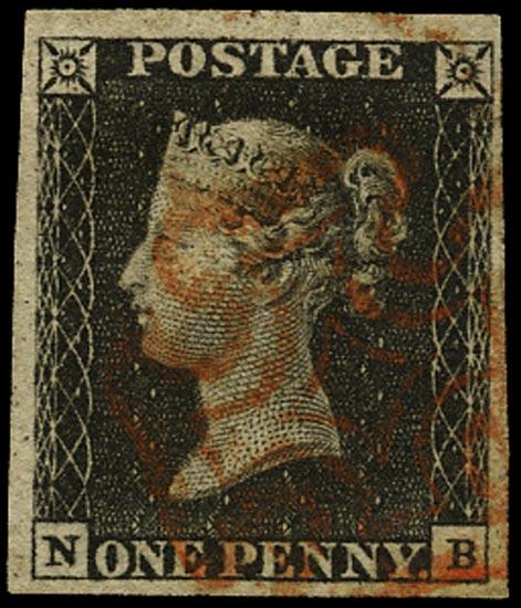 GB 1840  SG2 Pl.4 Penny Black red MC (NB)