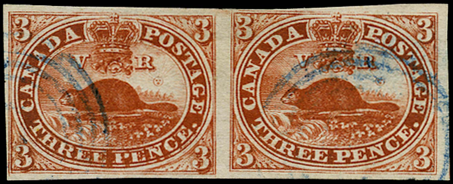 CANADA 1852  SG18a Used 3d red Beaver with R5/7 Major Re-Entry