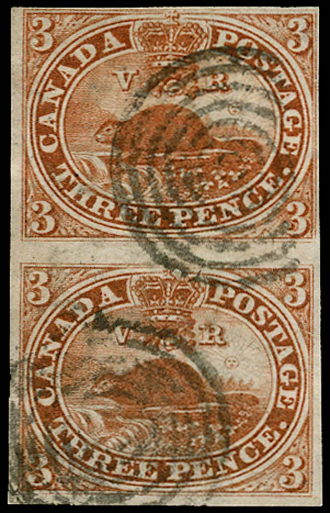 CANADA 1852  SG8 Used 3d brown-red Beaver on handmade paper