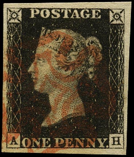 GB 1840  SG2 Pl.6 Penny Black red MC (AH)