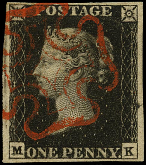 GB 1840  SG2 Pl.6 Penny Black red MC (MK) double letter variety
