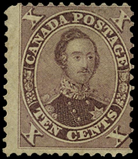 CANADA 1859  SG34 var Mint 10c purple Prince Albert variety Double Epaulette
