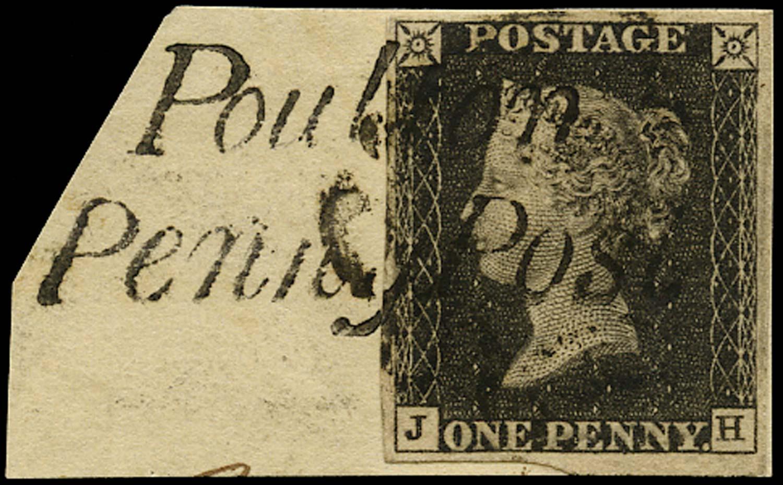 GB 1840  SG2 Pl.7 Penny Black black MC & Poulton H/S