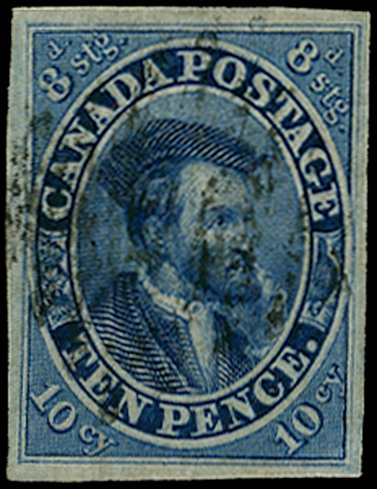 CANADA 1852  SG15 var Used 10d Jacques Cartier with stitch wmk and re-entries