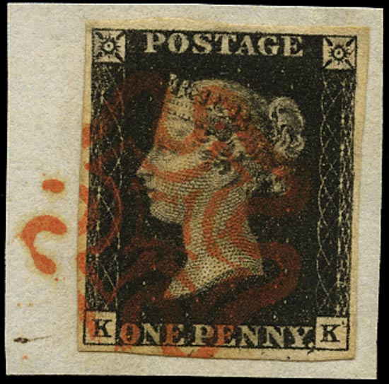 GB 1840  SG2 Pl.7 Penny Black VFU on piece (KK) red MC