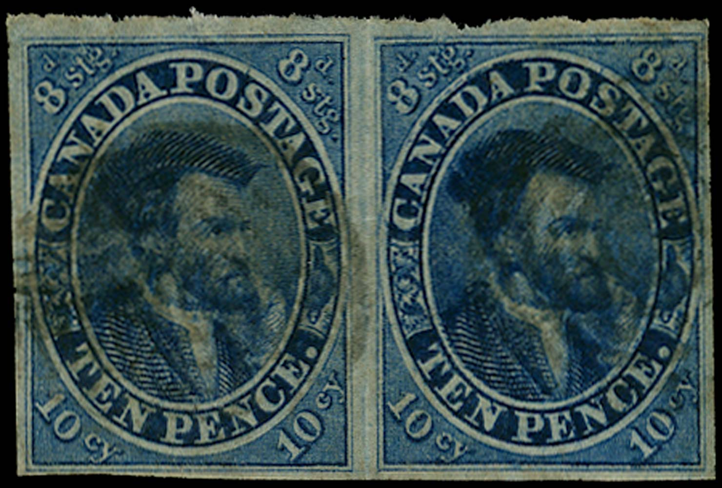 CANADA 1852  SG14a Used 10d dull blue Cartier with pos. 29 Major Re-entry