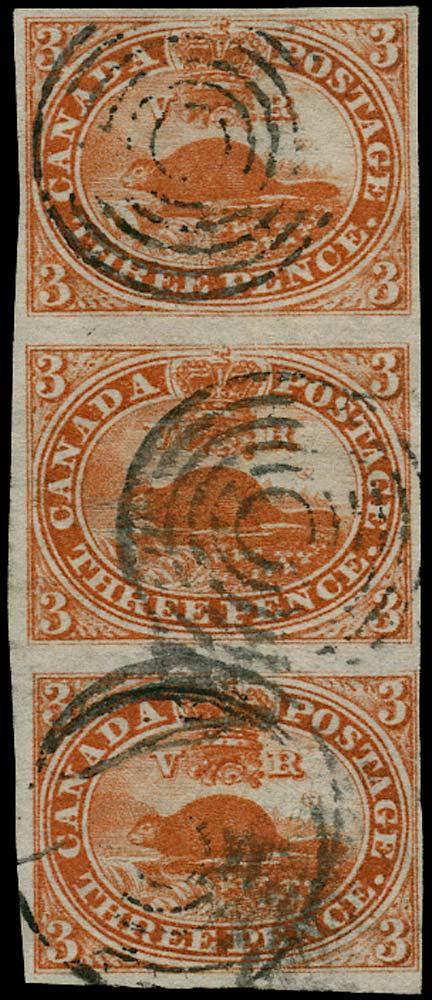 CANADA 1852  SG7 Used 3d scarlet-vermilion Beaver strip of 3