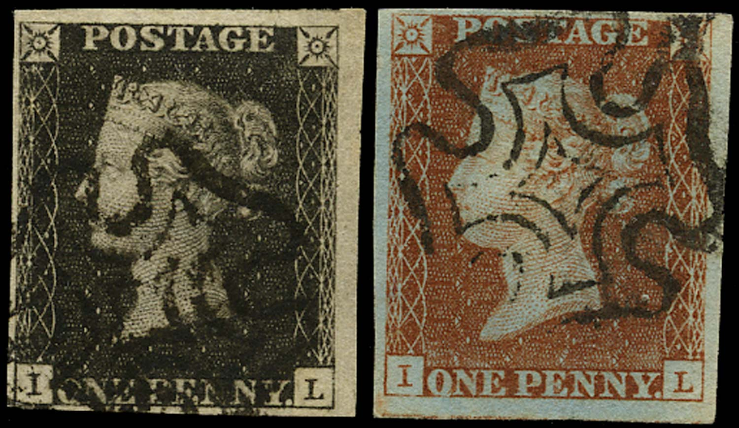 GB 1840  SG2, 7 Pl.10 Penny Black matched pair (IL)
