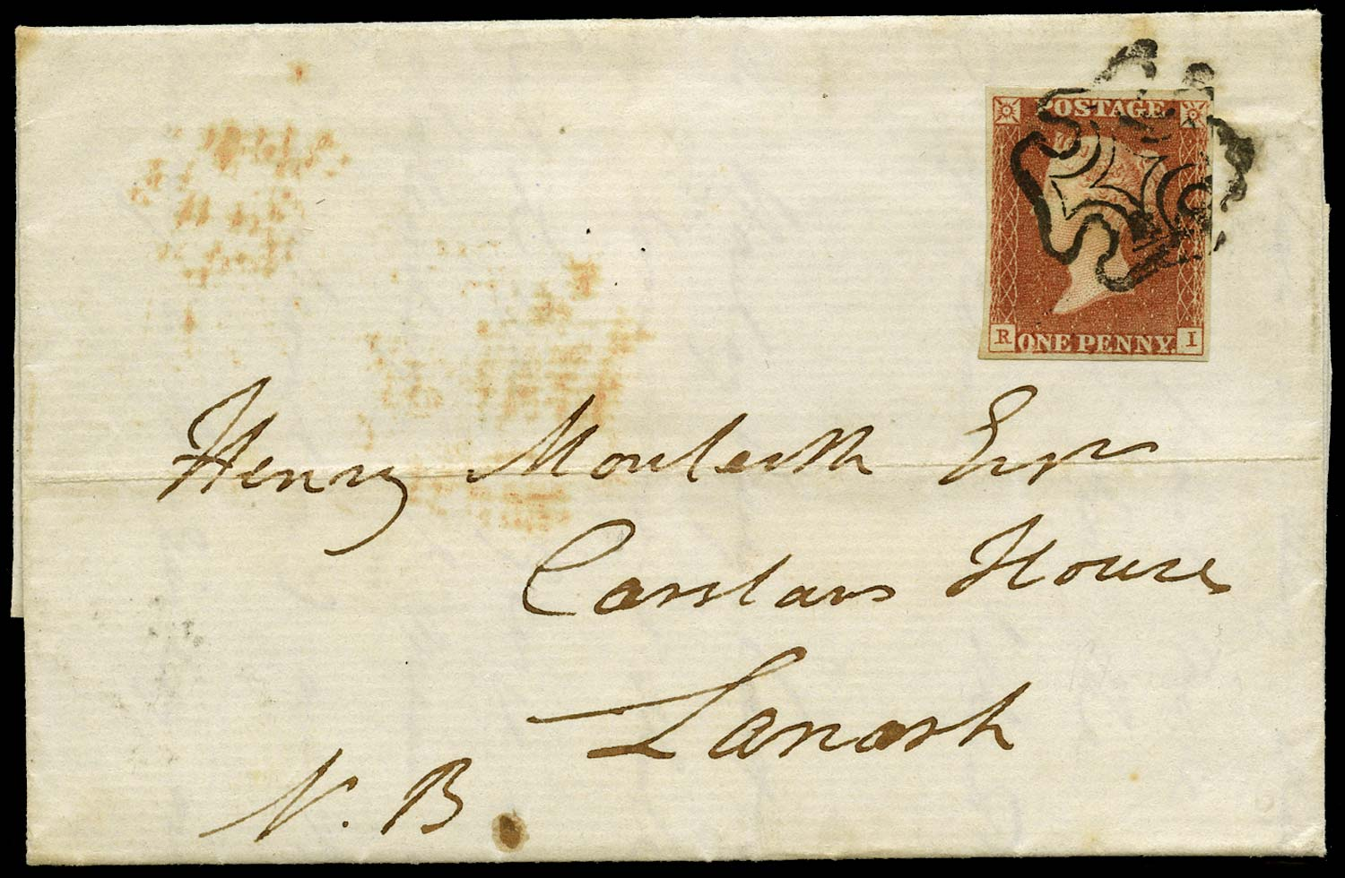 GB 1840  SG7 Pl.10 Cover (RI) P converted to R, re-entry