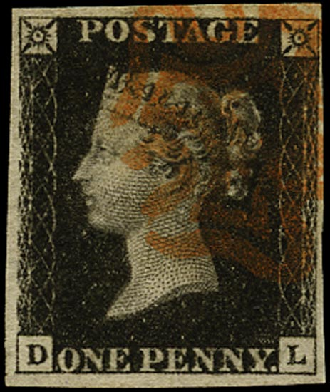 GB 1840  SG2 Pl.5 Penny Black red MC (DL)